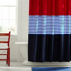 Colorblock Shower Curtain, Navy/Red #pbteen