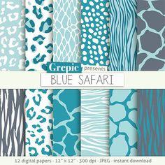 "Blue animal print: digital paper ""BLUE SAFARI"" blue zebra print tiger skin blue giraffe leopard patterns safari blue animal skin #patterns #bestofetsy"