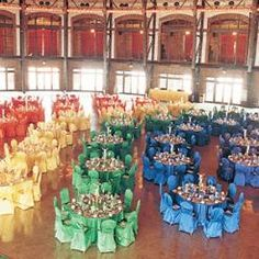 Banquet with Emerald, Orange, Purple, Red, Sapphire, and Yellow linen tables and chairs. Who likes rainbows?