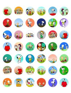 "Charlie Brown, Snoopy & Peanuts Characters -  Printable 1"" Bottle Caps -  42 Different Designs"