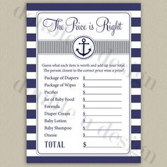 INSTANT DOWNLOAD - Nautical Price is Right Baby Shower Game in Navy and Gray - Printable DIY from doubleudesign on Etsy. Saved to ~Baby Shower~.