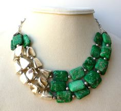 Triple Strand Green Imperial Jasper and Silver Statement Necklace, Chunky Green Gemstone Necklace by Big Skies Jewellery