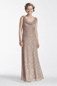 You'll want to wear this beautiful cowl neck glitter dress for many seasons to come!  Sleeveless dress features eye-catching and flattering ruched bodice with a cowl neckline.  Sparkling glitter lace fabric adds just the right amount of glamour.  Fully lined. Back zip. Imported polyester. Hand wash cold.