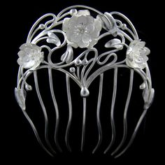 """Art Nouveau hair comb """"Water lily"""", lotus flowers, OOAK sterling silver accessory on Etsy, $1,104.36"""
