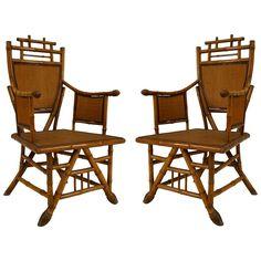 Pair English Victorian Bamboo Shield Back Arm Chair | 1stdibs.com