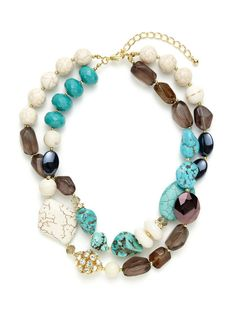 Double Row Dyed Jade Necklace by Leslie Danzis on Gilt