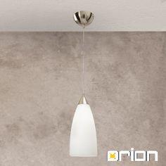 Cone pendant light, satin chrome finish with Alascawhite glass, 15cm