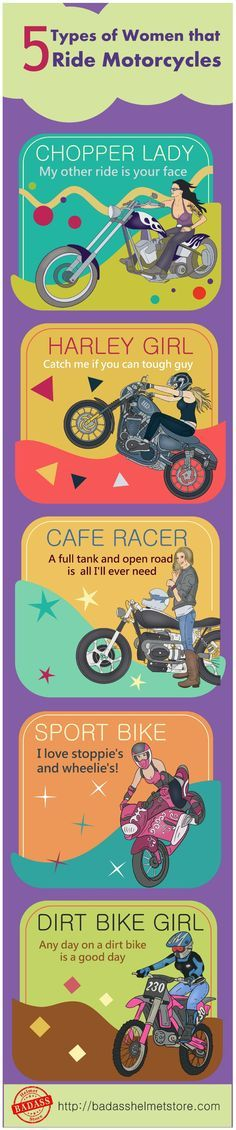 5 Types of Women that ride Motorcycles Infographic