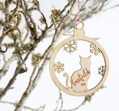 Our fur-babies play such an important part in our lives, so it is only fair that they have their own decoration on your annual Christmas tree.   This laser cut plywood decoration is designed to be personalised with your precious cats name and year (if you prefer not to include a year just note this), and as each piece is cut from wood the grain in the timber will vary and ensure that every piece is different.   The tree decoration comes with red & white twine ready to hang the tree…