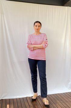 Minquiers Modern Breton Striped Top Breton Top, Saint James, Red And White Stripes, Size Model, Slim, Modern, How To Wear, Cotton, Pants