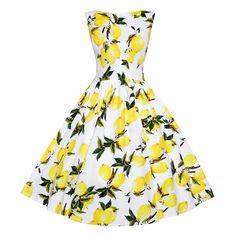 9b2b99176e51 LINDY BOP Audrey White Yellow Lemon Print Flared Vintage 1950s Style Swing  Dress £38.00 Lemon