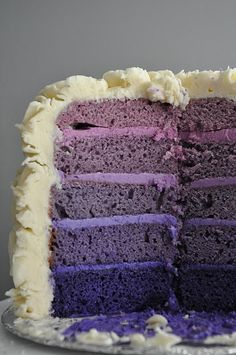 Purple tiered Ombre cake via Fig & Ruby Sweets