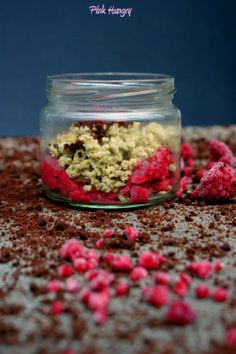 green tea matcha cheescake with chocolate sand and raspberry sorbet