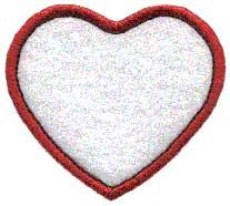 Badge Applique, heart. Badge or border element to use stand-alone or as accents to other designs or monograms.