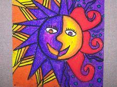 Aztec Suns: oil pastels