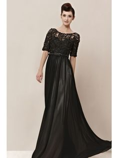Black Lace Half-Sleeve Sashes Full-Length Bridesmaid Ball Gown Prom Evening Dress - Merpher.L