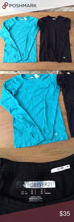 Compression F21 Long Sleeve W/Keyhole $28 free ship on Ⓜ️! Ask how to find me. Both in good condition. However the black long sleeve's F21 lettering is coming off but nothing wrong with the overall shirt. No snags. Size small for both. Forever 21 Tops Tees - Long Sleeve