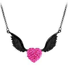 <3Black Winged Heart Necklace<3