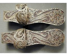Turkish wood and silver hammam shoes