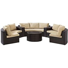 Crosley Catalina Sand 6-Piece Outdoor Wicker Sectional Sofa Set ($2,829) ❤ liked on Polyvore featuring home, outdoors, patio furniture, beige, outdoor seating, outdoor patio furniture, all weather wicker outdoor furniture, outdoor seating sets, all weather wicker sectional and all weather patio furniture