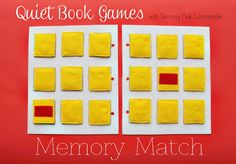 Free Quiet Book Template - Memory Match Game by Serving Pink Lemonade