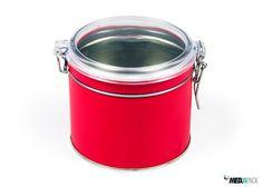 Lata de metal vermelha com fecho hermético. Lata de metal roja con cierre hermetico. #latametal #lataredonda #embalajemetal  http://loja.mediapack.com/pt/embalagens-de-metal/