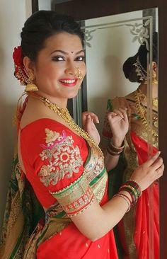 Blouse Back Neck Designs, Blouse Designs, Marathi Saree, Dark Eyebrows, Marathi Wedding, Nauvari Saree, Birdhouse Designs, Indian Bridal Fashion, Indian Beauty