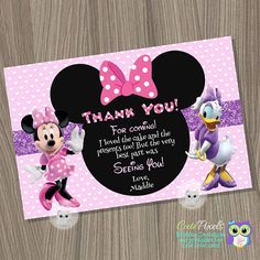 Minnie Mouse Thank You Card, Daisy Duck Thank You Card, Minnie Mouse Birthday, Daisy Duck Birthday, Minnie Mouse Balloons, Daisy Duck, 3rd Birthday, Birthday Ideas, Make Photo, Birthday Invitations, Thank You Cards, Presents, Party