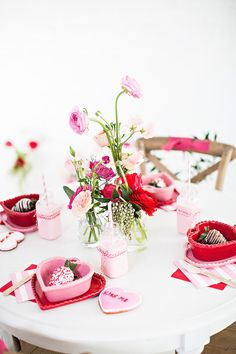 Pink + Red Garden Floral Valentine's Day Party by Ivory Lane on Kara's Party Ideas | KarasPartyIdeas.com Printables, tutorials, desserts, giveaways, favors and more! #valentinesday #vdayparty #redandpink #valentinesdayparty #rusticvalentinesday #karaspartyideas