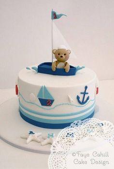 Bear in a sailboat cake Sailboat Cake, Nautical Cake, Nautical Theme, Vintage Nautical, Toddler Birthday Cakes, Baby Boy Birthday Cake, Birthday Parties, Teddy Bear Cakes, Sea Cakes