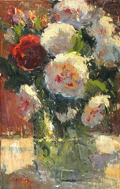 Michael Clark - Sunny Peonies- Oil - Painting entry - May 2015 | BoldBrush Painting Competition