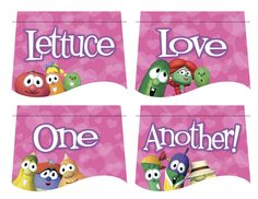 aavhc g vccfy b vv u Veggie Tales Birthday, Veggie Tales Party, Valentine Banner, Love Valentines, 3rd Birthday Parties, 2nd Birthday, Veggietales, Valentine's Day Printables, Sunday School Lessons