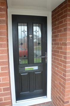 Grey Front Doors, Front Hallway, Entry Doors With Glass, Glass Door, House Front, Front Porch, Pictures Of Porches, White Interior Doors, Composite Front Door