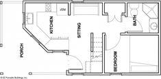 EZ Portable Buildings - Tiny Houses - The Magnolia Floorplan Shed To Tiny House, Tiny House Cabin, Tiny House Design, Small House Plans, Tiny Houses, Log Cabin Plans, Shed Cabin, Cabin Floor Plans, Cabin Kits