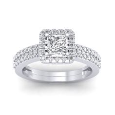 1.46 carat 18K White Gold - Dual Band Helena Princess Engagement Ring #engagementring #engagement #Proposal #willyoumarryme #diamondring #diamonds #naturaldiamonds #diamondjewellery #anniversaryring #ring #designerengagementring #engagementrings #wedding