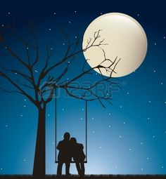 Couple In The Night Over Swing With Moon. Royalty Free Cliparts, Vectors, And Stock Illustration. Couple Silhouette, Silhouette Art, Love Wallpaper, Wallpaper Backgrounds, Wings Wallpaper, Cute Couple Drawings, Shadow Art, Love Illustration, Moon Art