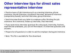 Direct sales representative interview questions and answers | CALL ...