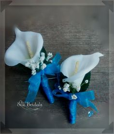 White Calla Lily Boutonniere Malibu blue turquoise by SilkBridals, $4.00