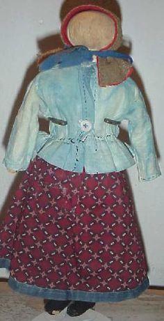 19thC Rag Doll ~ Calico's Wool Bonnet