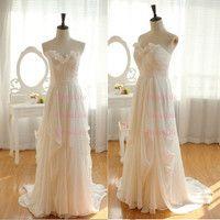 Sweetheart Ruffles Empire Waist Sweep Train Bridesmiad Dress/Long Bridesmaid/Custom Dress/Wedding Gown/X053