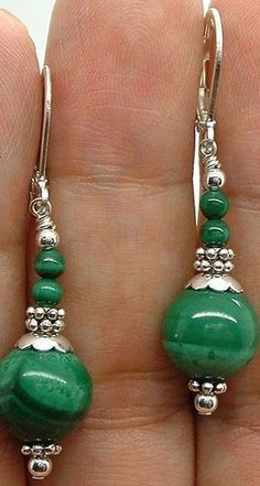 Fashion Pretty Natural Green Malachite Silver Leverback Dangle Earrings #handmadejewelryearrings
