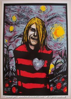 """Kurt Cobain - silkscreen poster (click image for more detail) Artist: Malleus Venue: n/a Location: n/a Concert Date: 2004 Edition: stamped and numbered out of 240 Size: 20"""" x 28"""" Condition: NM+ (tiny"""