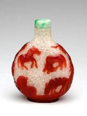 Chinese Snuff Bottle  Carved glass  H: 2 7/8 x W: 2 1/8 x D: 1 inches (H: 7 x W: 5 x D: 3 cm)