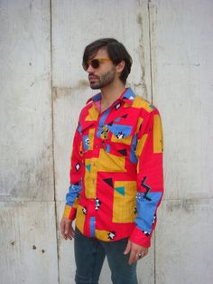 Colorful Western Aztec men's buttoned shirt by WRANGLER size LARGE. $24.00, via Etsy.