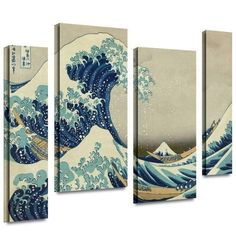 Brushstone 'The Great Wave off Kanagawa' by Katsushika Hokusai, 4 Piece Gallery Wrapped Canvas Staggered Set, is a high-quality canvas print capturing roaring waves as they crash into the boats sailing through. A breathtaking piece for any home or office. Canvas Artwork, Canvas Art Prints, Painting Prints, Framed Artwork, Canvas Fabric, Paintings, Godzilla, Great Wave Off Kanagawa, Katsushika Hokusai