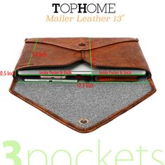 13''Leather Laptop Case Leather Wool Felt Macbook Pro by TopHome