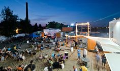 This small container city is an informal space for exhibitions, workshops and community events in Poznań.