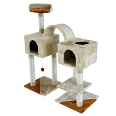GHP Beige/Brown 38.2'L×17.73'W×46'H Scratching Cat Tree Furniture >>> To view further for this item, visit the image link. (This is an affiliate link) #CatTree