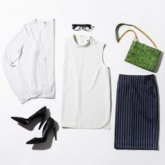 We get a lot of questions about professional outfits with a minimalist wardrobe. Well, here's a great example of a business casual outfit… Business Casual Outfits, Professional Outfits, Business Attire, Clothing Photography, Minimalist Wardrobe, Uniqlo, Work Wear, My Style, How To Wear
