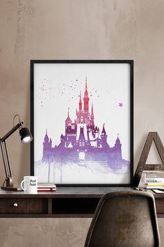 Disney castle watercolor poster, Watercolor print, Disney print, princess castle, princess castle print, Wall art, kids decor, iPrintPoster.